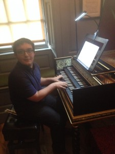 James at Handel's harpsichord