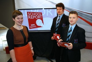 Nathan and Dale from Portadown High with teacher Ruth Murphy during BBC School Report's News Day 2016 b.jpg